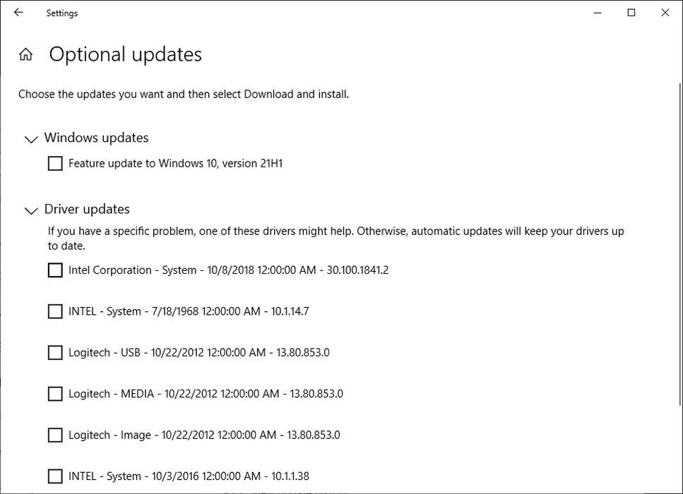 Windows 10 Optional Updates Screen